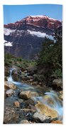 Stream And Mt. Edith Cavell At Sunset Bath Towel