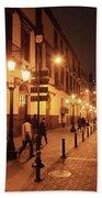 Street At Night, Lima Peru Bath Towel