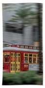 Street Car Flying Down Canal Hand Towel