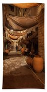 Street In Gothic District Of Barcelona At Night Bath Towel