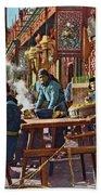 Street Life Of Peking, 1921 Bath Towel