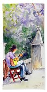 Street Musician In Pollenca Bath Towel