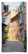 Street With Sunshine In Villefranche-sur-mer Hand Towel