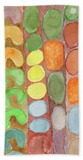 Striped Colorful Pattern With Croissants  Bath Towel