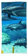 Striped Dolphins Bath Towel