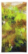 Structure Of Wooden Log Covered With Moss, Closeup Painting Detail. Bath Towel