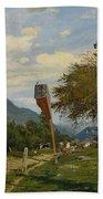 Strutzel, Otto 1855 Dessau - 1930   On The Way Home. In The Background The Steeple Of Garmisch-parte Bath Towel