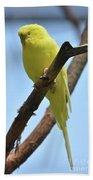 Stunning Little Yellow Budgie Parakeet In Nature Bath Towel