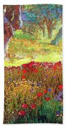 Tranquil Grove Of Poppies And Olive Trees Bath Towel