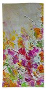 Summer Fragrance Abstract Painting Bath Sheet by Julia Apostolova