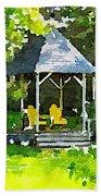 Summer Gazebo With Yellow Chairs Bath Towel