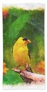Summer Goldfinch - Digital Paint 4 Bath Towel