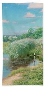 Summer Landscape With Children Bath Towel