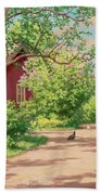 Summer Landscape With Hens Bath Towel