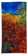 Summer Landscape With Poppies  Bath Towel
