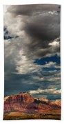 Summer Thunderstorm Clouds Form Over West Temple Zion National Park Utah Bath Towel