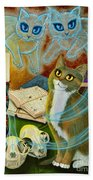 Summoning Old Friends - Ghost Cats Magic Bath Towel
