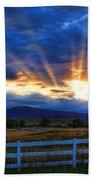 Sun Beams In The Sky At Sunset Bath Towel