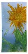 Sun Flower And Dragonflies  At Dusk Bath Towel