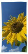 Sunflower And Blue Sky Bath Towel
