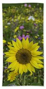 Sunflower And Wildflowers Bath Towel