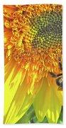 Sunflower Bees Bath Towel