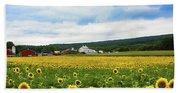 Sunflower Country Landscape  Bath Towel