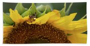 Sunflower With Grasshopper Bath Towel