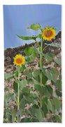 Sunflowers And A Stone Wall Bath Towel