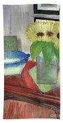 Sunflowers And Blue Bowls Bath Towel