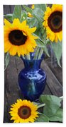 Sunflowers And Blue Vase - Still Life Bath Towel