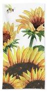 Sunflowers And Honey Bees Bath Towel