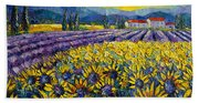 Sunflowers And Lavender Field - The Colors Of Provence Modern Impressionist Palette Knife Painting Bath Towel