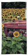 Sunflowers And Tractor Bath Towel