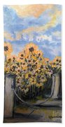 Sunflowers At Rest Stop Near Great Sand Dunes Bath Towel