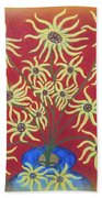 Sunflowers In A Blue Vase Bath Towel