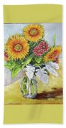 Sunflowers In Glass Vase Hand Towel