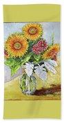 Sunflowers In Glass Vase Bath Towel