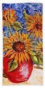 Sunflowers In Red Vase. Bath Towel