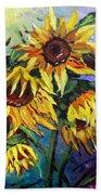 Sunflowers In The Rain Bath Towel