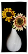 Sunflowers On Black Background And In White Vase Bath Towel