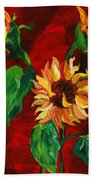 Sunflowers On Rojo Bath Towel