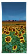 Sunflowers Under A Stormy Sky By Denver Airport Bath Towel