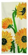 Sunflowers Using Palette Knife Bath Towel