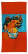 Sunflowers Van Gogh Bath Towel