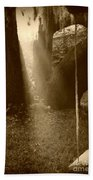 Sunlight On Swing - Sepia Bath Towel