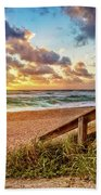 Sunlight On The Sand Bath Towel by Debra and Dave Vanderlaan