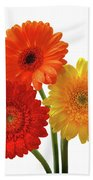Sunny Gerbera On White Bath Towel