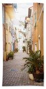 Sunny Street In Villefranche-sur-mer Bath Towel