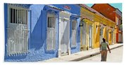 Sunny Street With Colored Houses - Cartagena-colombia Bath Towel